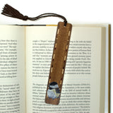 Dark Wood with Chickadee Bird Painting by Kathleen Barsness - Brown Rope Tassel
