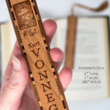 Kurt Vonnegut Engraved Wooden Bookmark with Green Suede Tassel
