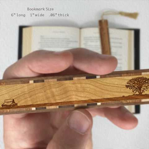 Lone Tree with Country House - Engraved Wooden Bookmark on Cherry with Tassel