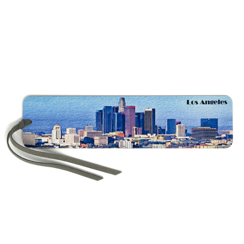 Los Angeles Skyline, Wooden Bookmark with Suede Tassel