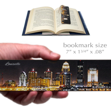 Louisville Night Skyline Wooden Bookmark with Suede Tassel