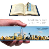 Lower Manhattan Skyline, Wooden Bookmark with Suede Tassel