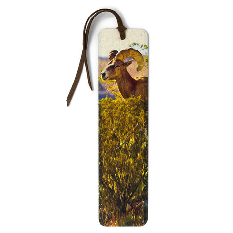 Bighorn Sheep Ram Photograph by Mike DeCesare - Printed on Handmade Wood Bookmark with Tassel