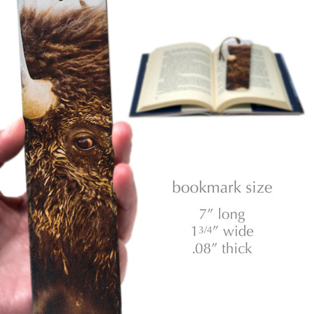 Bison Watching Photo by Mike DeCesare - Image Printed on Large Wood Bookmark with Tassel