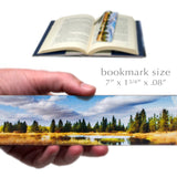 Lake Reflection Photograph by Mike DeCesare - Digitally Painted On Our New Larger Size Handmade Wooden Bookmark with Tassel