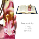 Lily Flower Photograph by Mike DeCesare - Digitally Painted On Our New Larger Size Handmade Wood Bookmark with Tassel