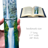 Multnomah Falls Photograph by Mike DeCesare - Printed On Our Large Handmade Wood Bookmark with Tassel