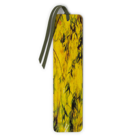 Sunlit Willow Tree Photograph by Mike DeCesare Printed On Handmade Wooden Bookmark with Tassel