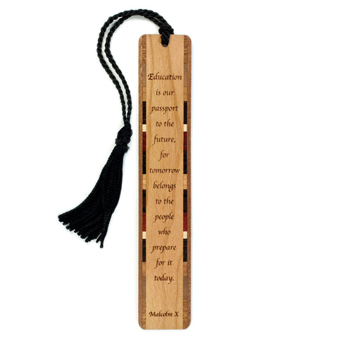 Malcolm X Quote about Education Engraved Wooden Bookmark with Tassel