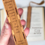 Inspiring Education Can Change The World Quote by Nelson Mandela Engraved Wood Bookmark With Inlays and Tassel