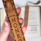 Marilyn Monroe Engraved Wooden Bookmark with Golden Blonde Rope Tassel