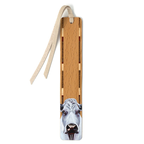 Harold The Cow - Art by Mary Beth Ihnken on Solid Beech Wooden Bookmark with Tassel