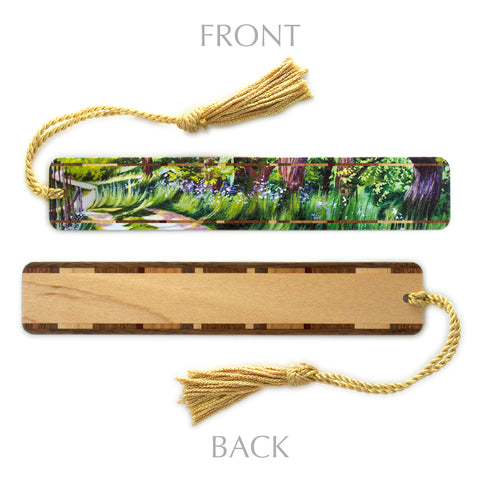 Wooden Bookmark with Tassel – Farm Road – Mary Beth Ihnken painting design on Maple Handmade in the USA