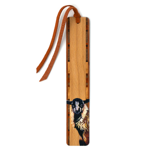 Hickory The Calf - Art by Mary Beth Ihnken on Solid Beech Wooden Bookmark with Tassel