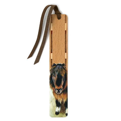 Pony - Art by Mary Beth Ihnken on Solid Beech Wooden Bookmark with Tassel