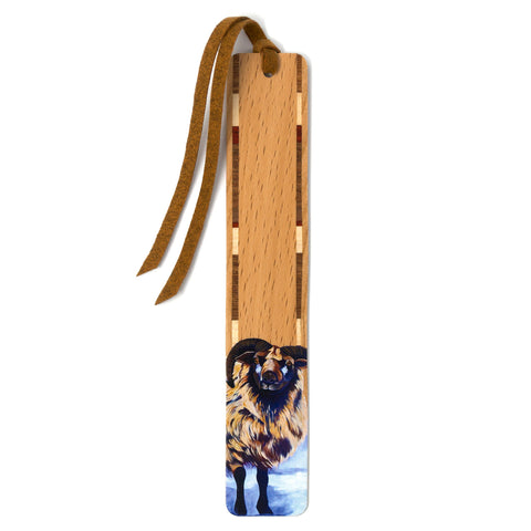 Odin The Sheep - Art by Mary Beth Ihnken on Solid Cherry Wooden Bookmark with Tassel