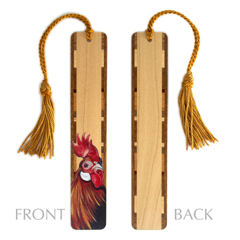 Wooden Bookmark with Tassel – Rooster – Mary Beth Ihnken painting on Maple Handmade in the USA