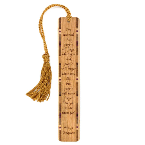 Feelings Quote by Maya Angelou Engraved Wood Bookmark With Inlays and Tassel