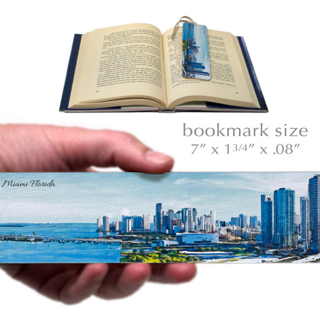 Miami Waterfront Skyline Wooden Bookmark with Suede Tassel