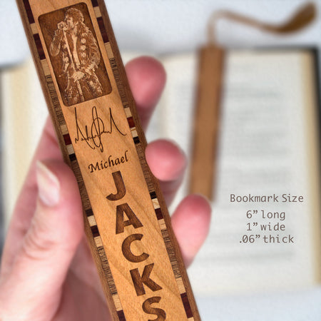 Michael Jackson Engraved on Wooden Bookmark with Black Suede Tassel