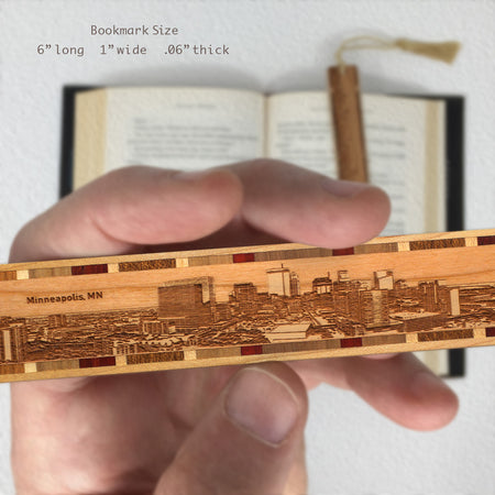 Minneapolis Minnesota Skyline Engraved Wooden Bookmark with Tassel