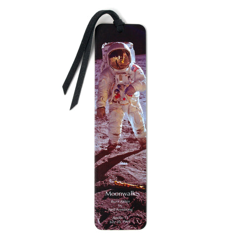 Moonwalk Photograph Wooden Bookmark with Suede Tassel