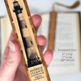 Lighthouses - Morris Island Lighthouse Printed Directly On Handmade Wooden Bookmark with Inlays and Tassel