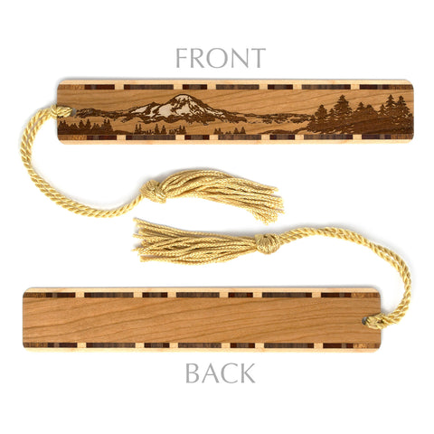Mountain Wilderness Engraved Wooden Bookmark on Cherry with Tassel