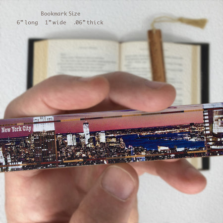 View of Hudson River from New York City on Maple Wood Bookmark with Rope Tassel