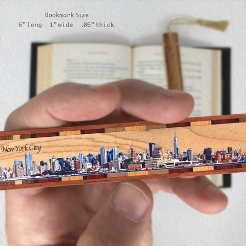 New York City Panoramic Skyline on Maple Wood Bookmark with Navy Rope Tassel