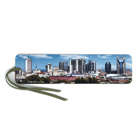 Nashville Tennessee Colorful Panoramic Skyline Wooden Bookmark with Suede Tassel
