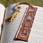 American Native Inspired Artwork Engraved on Hand Made Wooden Bookmark with Tassel
