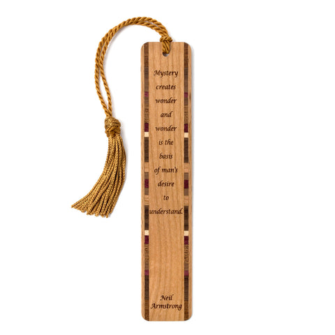 Mystery Creates Wonder Quote by Neil Armstrong Engraved Wooden Bookmark with Tassel