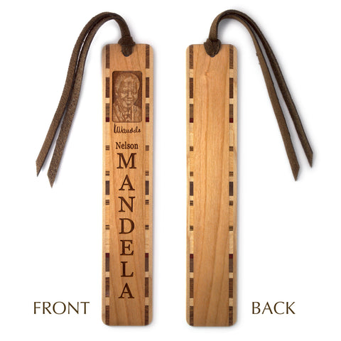 Nelson Mandela Engraved Wooden Bookmark with Tassel