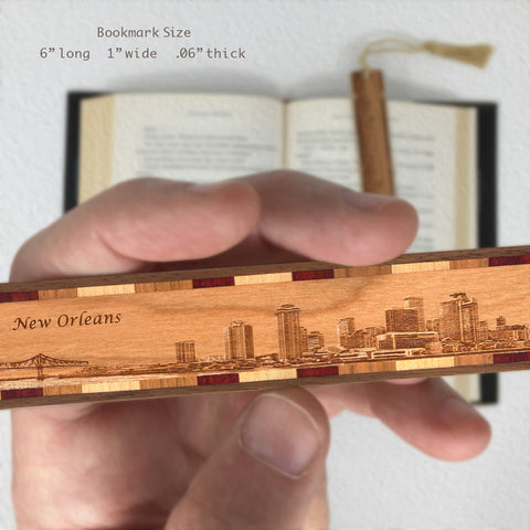 New Orleans Louisiana Cityscape Skyline Engraved Wooden Bookmark with Tassel