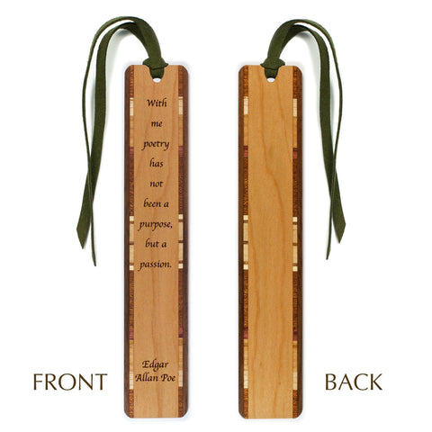 Author - Edgar Allan Poe - Poetry Quote Engraved Wooden Bookmark on Cherry with Green Suede Tassel