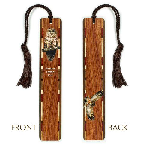 Northern Spotted Owl Wooden Bookmark with Tassel