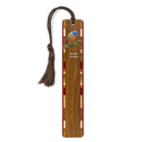 Painted Bunting - Cardinal - Wooden Bookmark with Tassel