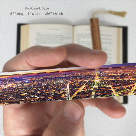 Night Photo of Paris on Maple Wood Bookmark with Rope Tassel