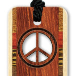 Peace Sign Cut Out Design Engraved Wooden Bookmark with Tassel