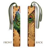 Peacock - Bird and Feather - Double Sided Wooden Bookmark with Tassel