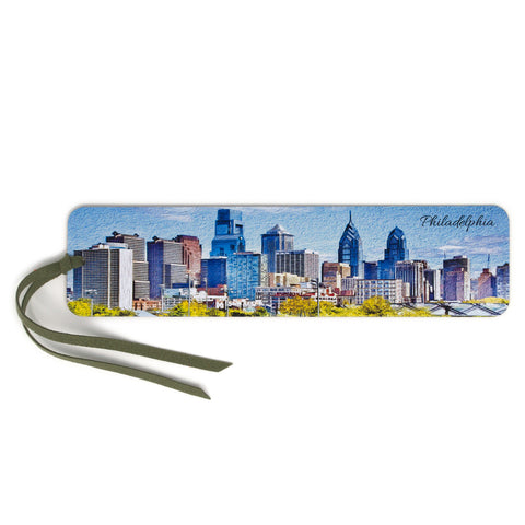 Philadelphia Skyline, Wooden Bookmark with Suede Tassel