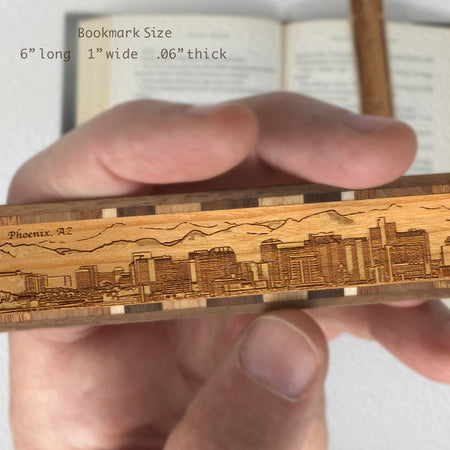 Phoenix Arizona Skyline Engraved Wooden Bookmark with Tassel