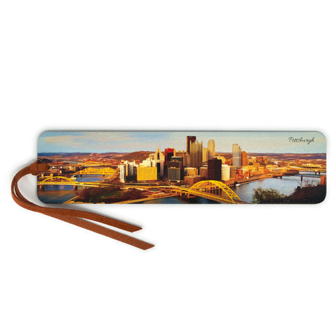Pittsburgh Skyline, Wooden Bookmark with Suede Tassel