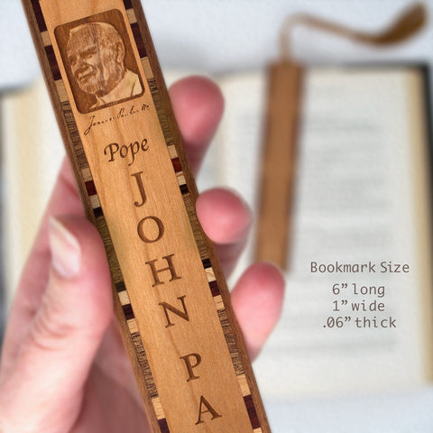Pope John Paul II Laser Engraved Wooden Bookmark with Brown Rope Tassel