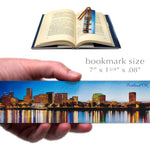 Portland Oregon at Night, Wooden Bookmark with Suede Tassel