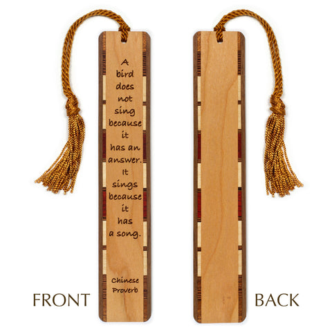 Chinese Proverb Quote - Bird Sings Engraved Wooden Bookmark with Tassel