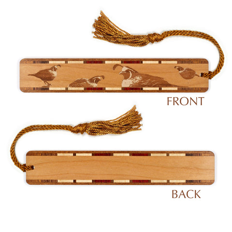 Quail Engraved Wooden Bookmark with Tassel