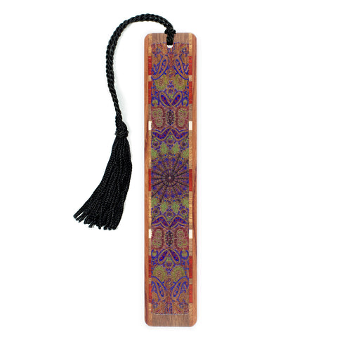 Paisley Design on Black Walnut Wooden Bookmark with Tassel