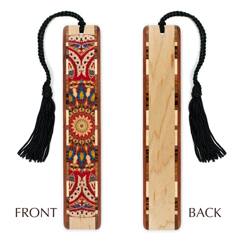 Quilt - Kaleidoscope Design Wooden Bookmark on Maple with Tassel